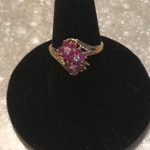 14K Solid Gold Vintage Ruby Diamond Cluster Ring